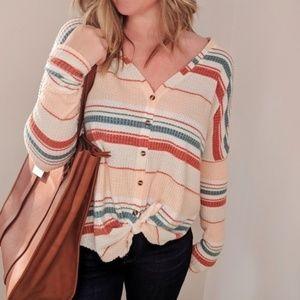 Urban Outfitters Jojo Stripe Thermal Shirt Top